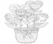 coloriage pot de fleurs en forme de coeurs pour adulte zentangle