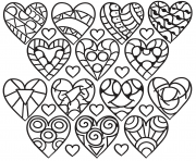 plusieurs coeurs avec diverses formes dessin à colorier