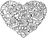 roses en forme de coeur dessin à colorier