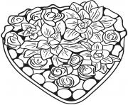 un jolie coeur fait de fleurs et roses dessin à colorier