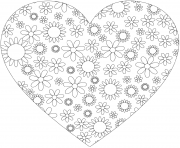 coloriage coeur simple avec motifs de fleurs