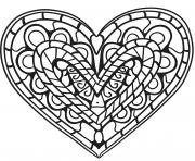 coloriage coeur zentangle