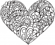 Coloriage zentangle coeur pour relaxer adulte