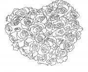 belles roses fleurs coeur dessin à colorier