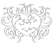 coeur avec de nombreuses branches dessin à colorier