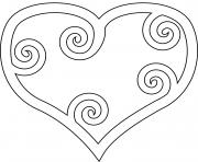 coeur avec des tours branches dessin à colorier