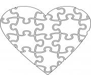coeur en forme de casse tete dessin à colorier