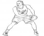 Coloriage dessin le joueur de basketball va marquer un panier malgre le defenseur dessin