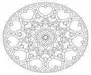 mandala avec des coeurs et fleurs dessin à colorier