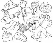 illustration des elements et symboles de la saint valentin dessin à colorier