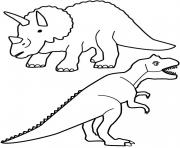 Coloriage Tyrannosaurus and triceratops