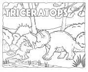 dinosaures herbivores triceratops avec son enfant dessin à colorier