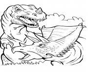 dinosaure battle dessin à colorier