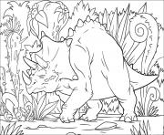Coloriage Triceratops dans la jungle