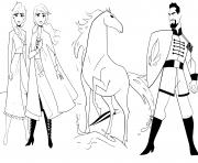 Anna et Elsa avec le cheval Nokk contre le Lieutenant Mattias de La reine des neiges 2 dessin à colorier