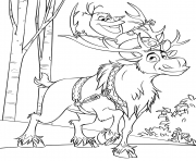 Snowman Olaf et Sven Reindeer dessin à colorier