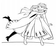 Anna et Elsa Hugging dessin à colorier