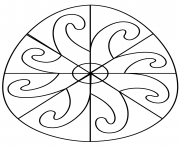 oeuf de paques avec spiral pattern dessin à colorier