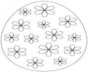 oeuf de paques avec flowers dessin à colorier