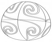 ester egg avec spiral pattern dessin à colorier