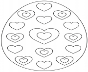 oeuf de paques avec hearts dessin à colorier