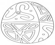 oeuf de paques avec folk pattern dessin à colorier