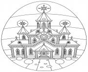 oeuf de paques avec eglise religion dessin à colorier