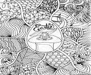 paques avec lapin dans un chapeau style doodle dessin à colorier