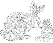 lapin de paques et oeuf complexe pour adulte dessin à colorier