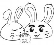 Coloriage lapin peinture des oeufs dessin