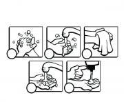 coloriage laver les mains etapes