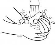 laver les mains enfants dessin à colorier