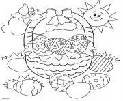 panier de paques oeufs soleil et papillon dessin à colorier