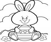 lapin de paques souriant avec des coeurs dessin à colorier