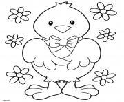 poussin elegant avec un ruban et des jolies fleurs dessin à colorier