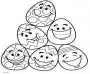 emoji oeufs de paques avec des grimaces dessin à colorier