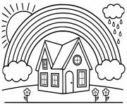 arc en ciel avec une maison dessin à colorier