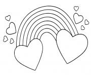arc en ciel avec des coeurs dessin à colorier