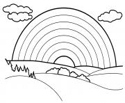 arc en ciel beau paysage dessin à colorier