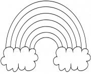 arc en ciel simple deux nuages dessin à colorier