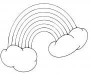 arc en ciel sur deux nuages dessin à colorier