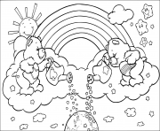 arc en ciel avec des oursons dessin à colorier