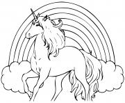arc en ciel avec une licorne dessin à colorier