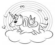 arc en ciel avec une licorne sur un nuage dessin à colorier