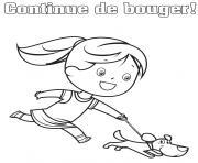 Coloriage continuer de bouger courir avec son chien dessin