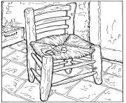 van gogh la chaise et la pipe dessin à colorier