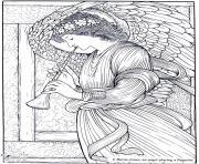 adult burne jones an angel playing a flageolet dessin à colorier