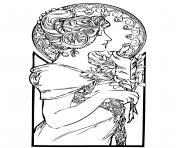 femme art nouveau dessin à colorier