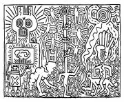 keith haring 2 dessin à colorier