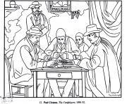 cezanne les joueurs de carte dessin à colorier